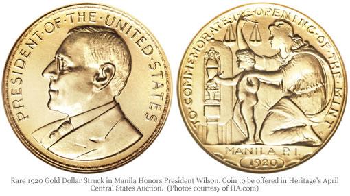 Rare 1920 Gold Dollar Struck in Manila Honors President Wilson