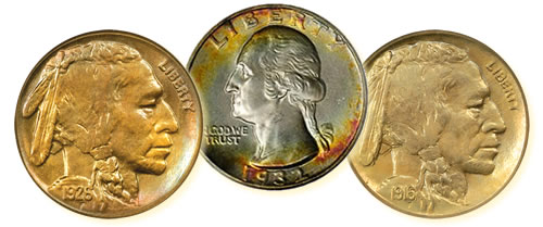 1926-S Buffalo Nickel, 1932-D Quarter, 1916 Doubled Die Buffalo Nickel coins