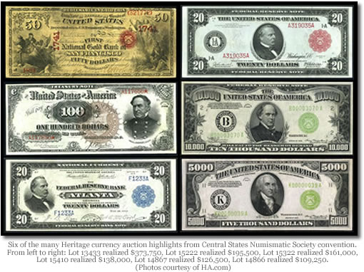Banknotes auctioned by Heritage at Central States Numismatic Society convention