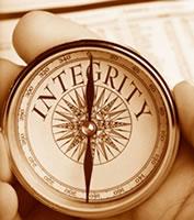 Integrity written on compass