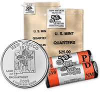 New Mexico State Quarter Circulating Bags and Rolls