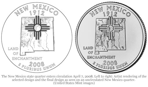 New Mexico state quarter and original design