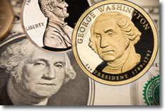 Penny, Dollar Bill and Dollar Coin