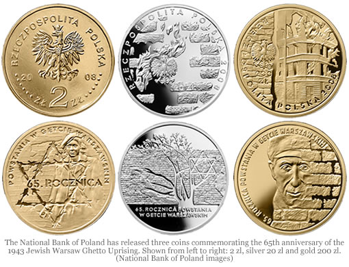 65th Anniversary of Warsaw Ghetto Uprising Commemorative Coins from Poland