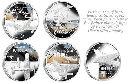 Silver World War II Fighter Coins