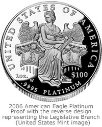 2006 American Eagle Platinum Proof Coin, Reverse