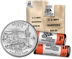 Arizona State Quarter Circulating Bags and Rolls