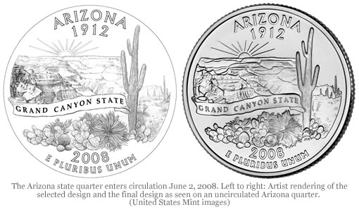 Arizona state quarter and original design rendering