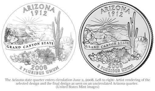 Arizona state quarter and original design rendering