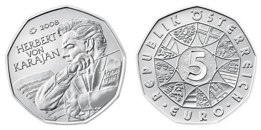 Austrian Mint Nine-Sided Silver Coin of Herbert von Karajan