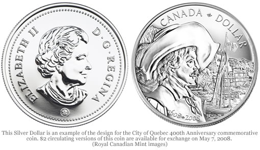 City of Quebec 400th Anniversary of the Silver Dollar Commemorative Coin