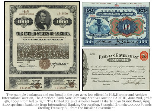 Bond and Banknote Examples from H.R.Harmer and Archives International Auction