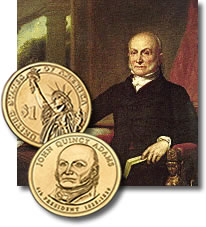 John Quincy Adam portrait and coins