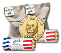 John Quincy Adams $1 dollar coins and bags