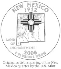 Original artist rendering of the New Mexico quarter by U.S. Mint