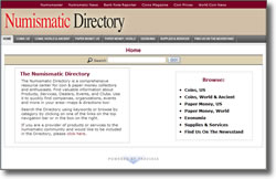 Screen shot of Numismatic Directory