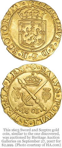 1603 Sword and Sceptre gold coin