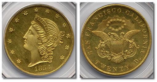 1854 Kellogg $20 gold coin
