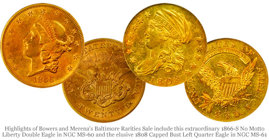 1866-S No Motto Liberty Double Eagle and 1808 Capped Bust Left Quarter Eagle Gold Coins