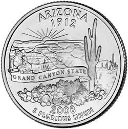 Arizona state quarter coin (uncirculated)