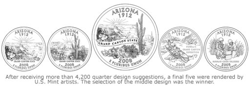 Arizona state quarter final five designs