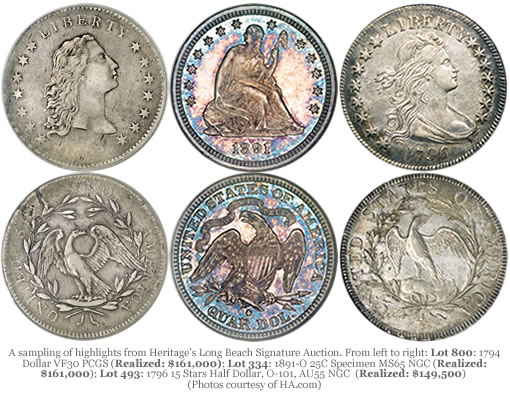 Heritage Long Beach Auction Coins, Highlights and Prices Realized