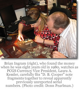 Laura Kessler and Brian Ingram examine D.B. Cooper note fragments