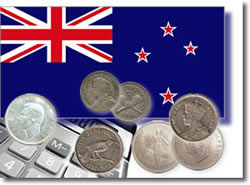 New Zealand silver coins and calculator