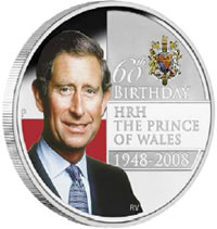 HRH the Prince of Wales 60th Birthday 1948-2008, 1 oz Silver Proof Coin
