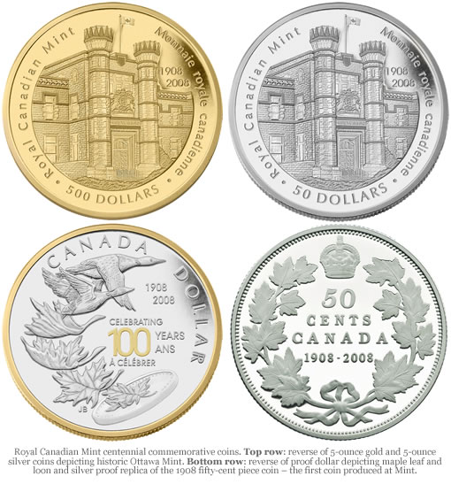 Royal Canadian Mint centennial commemorative coins