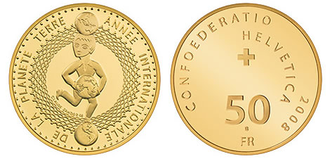 """Swiss Gold Commemorative Coin """"International Year of Planet Earth 2008"""""""