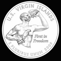 Virgin Islands commemorative quarter design: First in Freedom