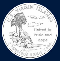 Virgin Islands commemorative quarter design: VIRGIN ISLANDS BEAUTY, YELLOW BREAST YELLOW CEDAR TYRE PALM