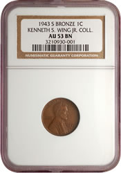 1943-S bronze Lincoln cent - obverse