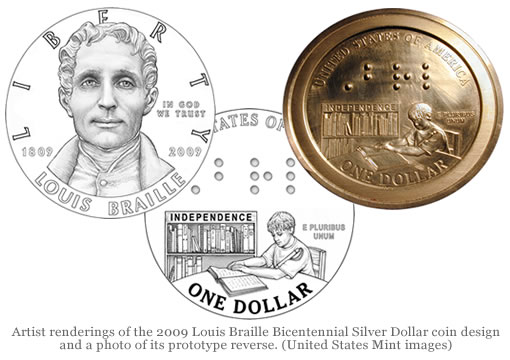 Louis Braille Bicentennial Silver Dollar Coin Design Images
