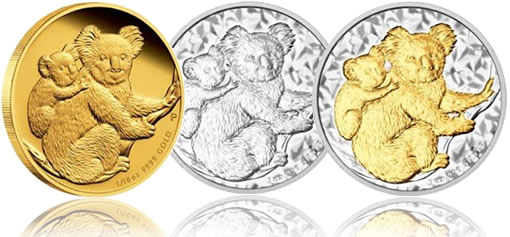2008 Silver, Gilded and Gold Koala Coins