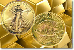 Saint-Gaudens $20 Double Eagle and gold bars