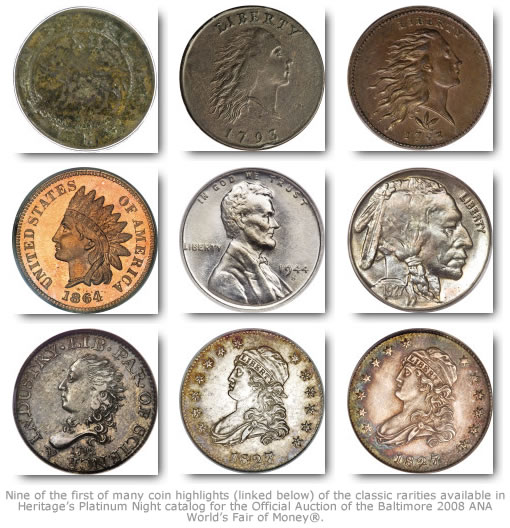Nine Heritage Coin Highlights in Platinum Night Rarities for Baltimore ANA Auction