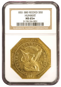 1851 Augustus Humbert $50 Gold Piece Graded MS-65 * by NGC