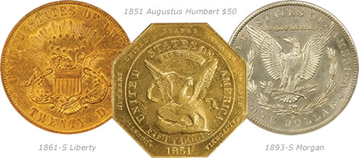 1861-S Liberty, 1851 Augustus Humbert $50, and 1893-S Morgan coins