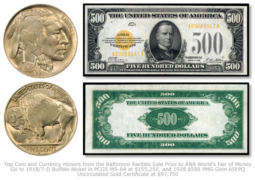 1918/7-D Buffalo Nickel and 1928 $500 Gold Certificate