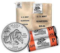 Alaska State Quarters in Bags and Rolls