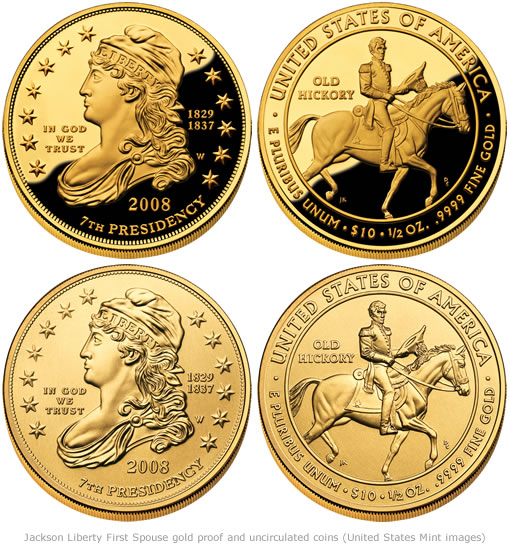 Jackson Liberty First Spouse gold proof and uncirculated coins