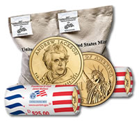 Andrew Jackson Presidential $1 Dollar Coin Bags and Rolls