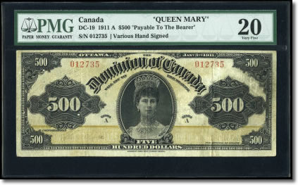 "Canadian ""Queen Mary"" $500 1911 note, face"