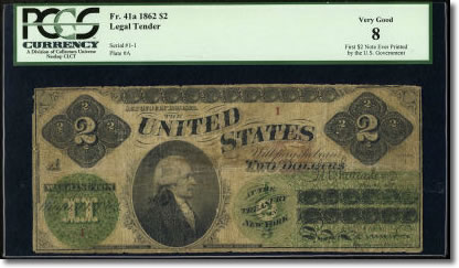 Very First U S 2 Note Ever Printed In Heritage Auction