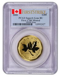 """First Strike"" 2008 Canadian Maple Leaf Gold Certifeid Coin"