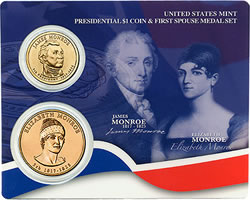 James Monroe Presidential $1 Coin and Elizabeth Monroe First Spouse Medal Set
