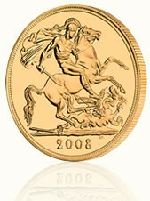 British Royal Mint 2008 UK £5 Gold Brilliant Uncirculated Coin, Reverse