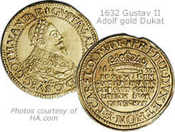 Swedish 1632 Gustav II Adolf gold Dukat gold coin